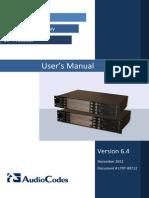 LTRT-89712 Mediant 3000 SIP User's Manual Ver. 6.4