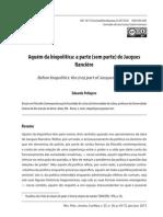 Eduardo Pellejero, Aquém Da Biopolítica, A Parte (Sem Parte) de Jacques Rancière (Revista Aurora)