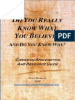 Do You Really Know What You Believe, And Do You Know Why - 2015