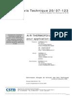 Avis Tech CSTB Isolant Mince AU070123