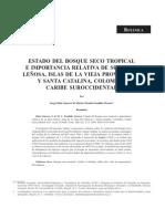 Estado Del Bosque Seco Tropical e Importancia Relativa de Su Flora Leñosa, Islas de La Vieja Providencia y Santa Catalina, Colombia, Caribe Suroccidental