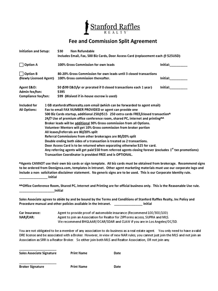 Fee And Commission Split Agreement 2014 V2 Real Estate Broker