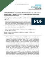 A 3D QSAR Study of Betulinic Acid Derivatives as Anti-Tumor