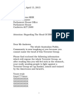 Letter to Kevin Andrews Defence Minister