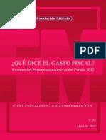 Coloquio Económico Nº 25 Que Dice El Gasto Fiscal, Examen Del Presupuesto General Del Estado 2013