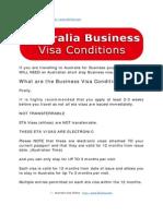 Australia Business Visa Conditions