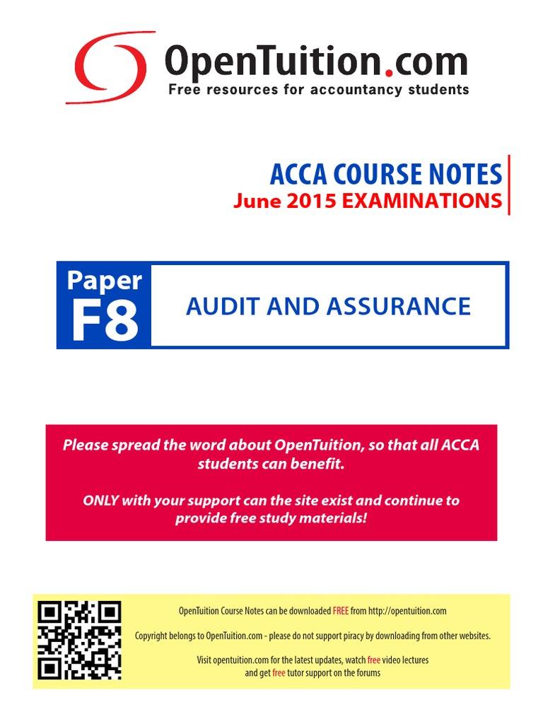 ACCA F8 Slides | Financial Audit | Audit