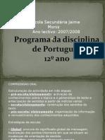 PROGRAMA DE PORTUGUÊS 12º ANO