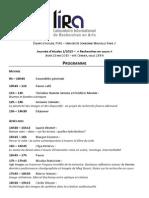 Journeée d'etudes LIRA - 21 Mai 2015