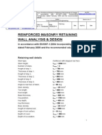 Sachpazis Reinforced Masonry Retaining Wall Analysis & Design, In Accordance With EN1997-12004