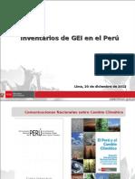 Inventarios de GEI en El Perú