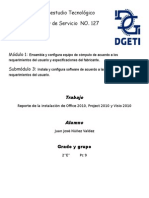 Reporte de instalacion de Office 2010, Projec 2010. Visio 2010