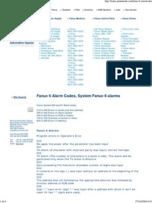 Fanuc 6 Alarm Codes, 6T 6M    | Parameter (Computer Programming