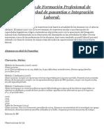 Trayectoria de Formación Profesional de Alumnos en Edad de Pasantías e Integración Laboral