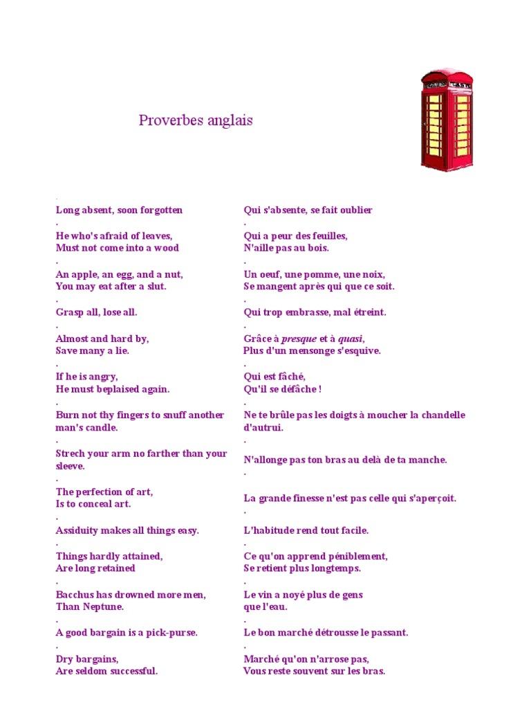 Proverbes Anglais Nature