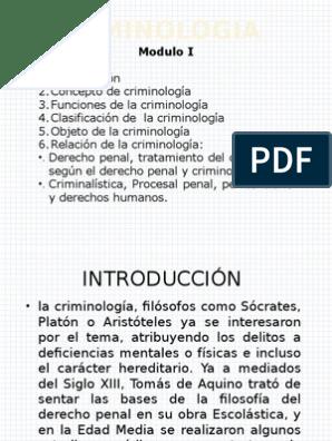 Introducción A La Criminología Criminología Derecho Penal