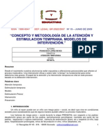 Concepto y Metodologia de La Atencion Tempran y La Estimulacion Temprana