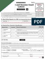 District & Sessions Court, Lahore Application Form 2015
