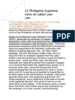 January 2013 Philippine Supreme Court Decisions on Labor Law And
