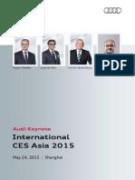 CES Asia 2015 - Audi Keynote