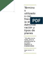 tERMINOS UTILIZADOS CON FRECUENCIA EN LA ADMINITRACION Y TIPOS DE PLANES
