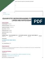 8,163,515 - Eukaryotic Microorganisms for Producing Lipids and Antioxidants