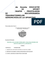 Kinetoterapie - Profilaxia Si Recuperarea Traumatismelor Genunchiului La Sportivi
