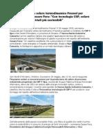 Cesare Fera Rinnovabili Primo Solare Termodinamico Fresnel Per l'Agroalimentare