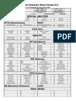 Cyberpunk Character Sheet 6.0