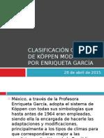Clasificación Climática de Köppen Modificada Por Enriqueta García