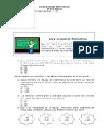Evaluación Matemática N°1 para 4 Básico ENSAYO 1
