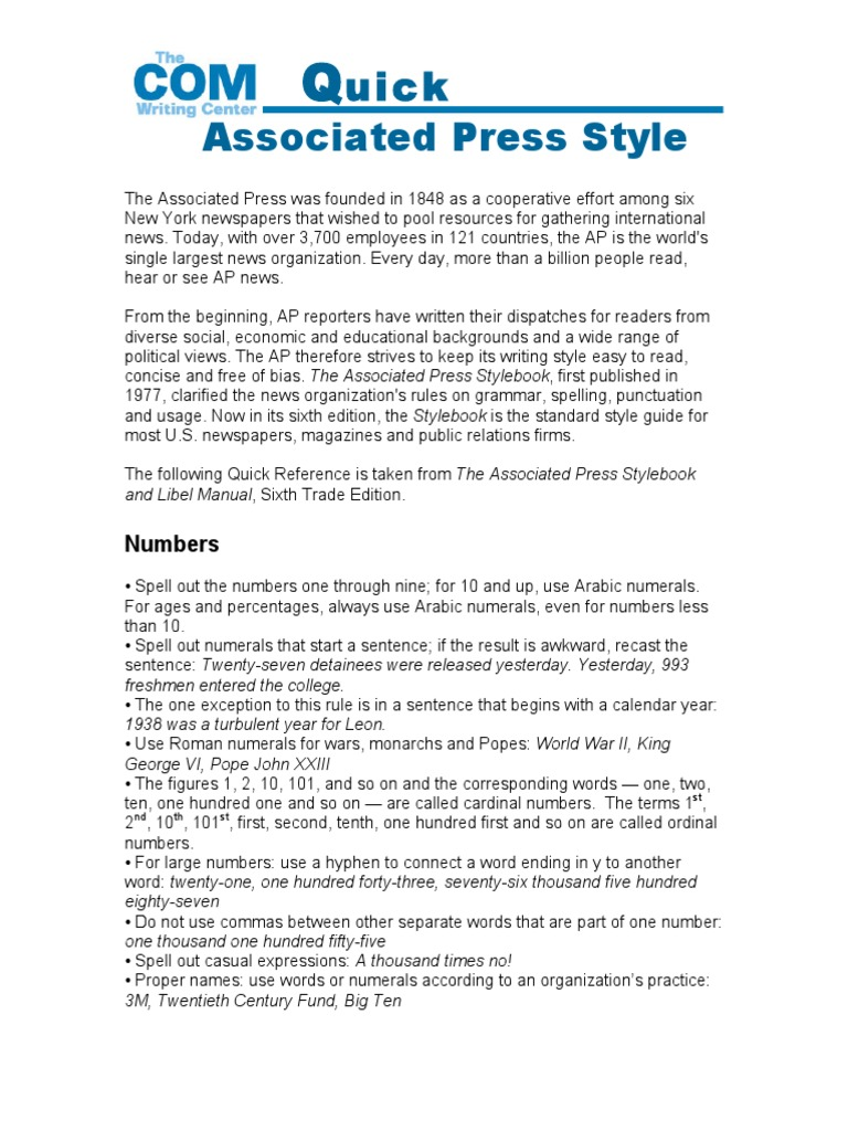 Modern Ap Style Press Release Template Embellishment - Resume ...