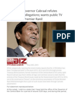Former CB Governor Cabraal Refutes Government Allegations Wants Public TV Debate With Premier Ranil