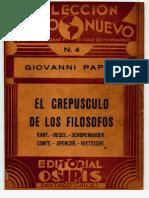 PAPINI, G. - El Crepusculo de Los Filosofos