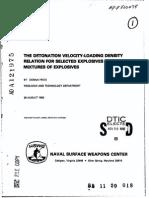 The Detonating Velocity and Loading Density for Explosives