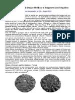 Le Monete Ferraresi Di Obizzo III d'Este e Il Rapporto Con l'Aquilino