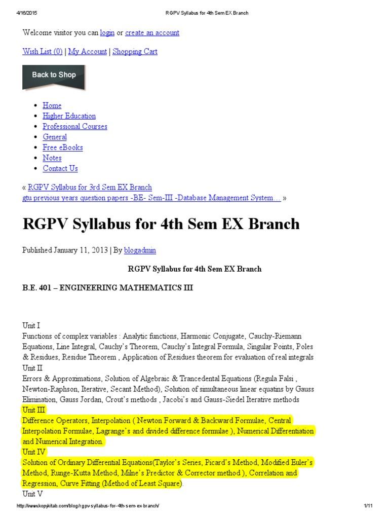 RGPV Syllabus for 4th Sem Mechanical Branch - KopyKitab