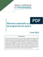 Elements Explicatifs Projet de Programme