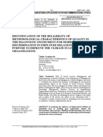 Identification of the reliability of methodological characteristics of quality in the diagnostic instrument for mobbing as discrimination in employee relations on purpose to improve the climate in Lithuanian organisations