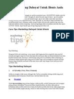 Tips Marketing Dahsyat Untuk Bisnis Anda