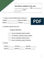 Ficha Avaliação Maio - Matemática
