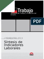Boletin Sintesis Indicadores Laborales i Trimestre 2013