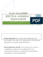 Tasa de Interes Nominal , Efectiva y Equivalente