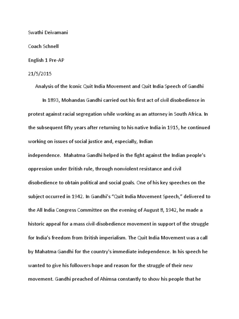 How To Write A Synthesis Essay Analysis Of The Iconic Quit India Movement And Quit India Speech Of Gandhi   Mahatma Gandhi  British Raj Essays On Health Care Reform also Reflection Paper Essay Analysis Of The Iconic Quit India Movement And Quit India Speech  Essay On Health Care