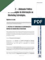 Aula Nº 12 – Alinhando Política de Tecnologias Da Informação Ao Marketing Estratégico.