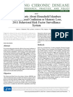 Proxy Reports About Household Members With Increased Confusion or Memory Loss, 2011 Behavioral Risk Factor Surveillance System