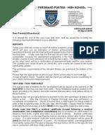 Ferdinand Postma High School Communication Letter 2/2015