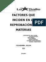 Factores que inciden en la reprobación de materias