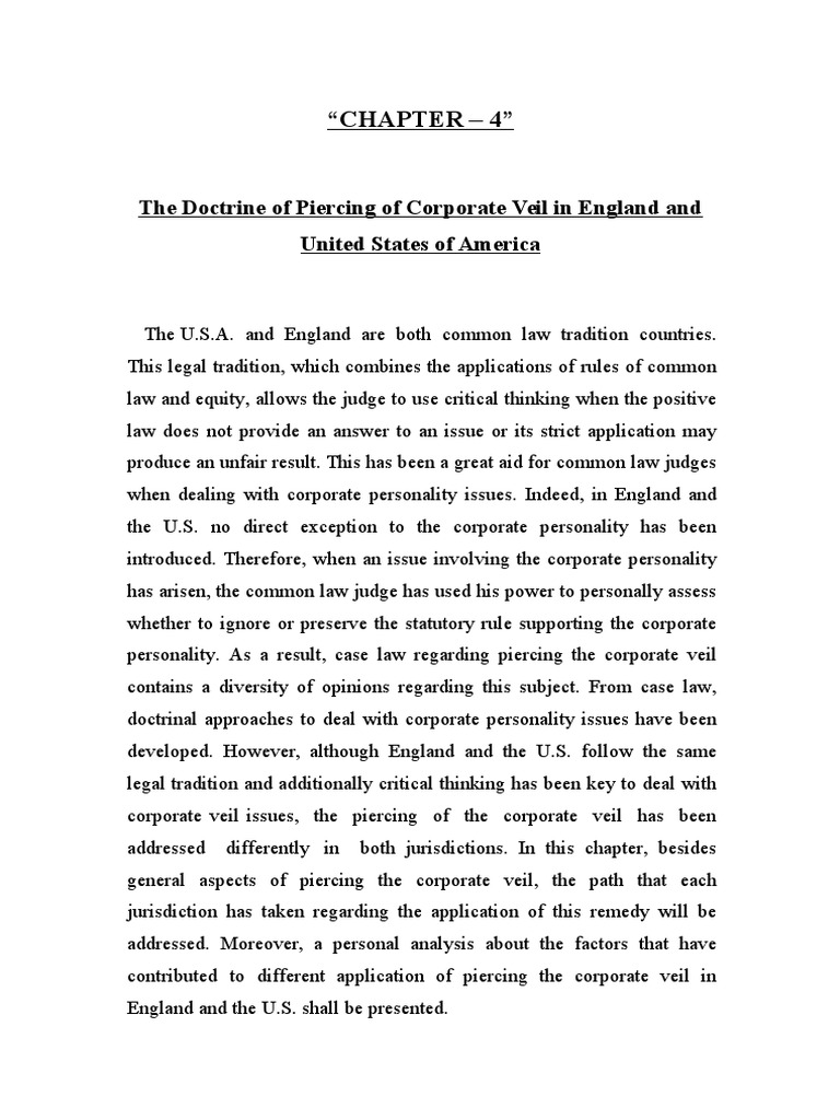 Corporate Veil In Common Law Piercing The Corporate Veil Subsidiary