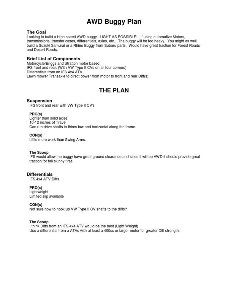 AWD Buggy Plan | Four Wheel Drive | Axle